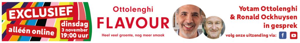 Deze banner laat zien wanneer het online evenement met Ottolenghi plaatsvindt bij boekhandel Scheltema in Amsterdam.